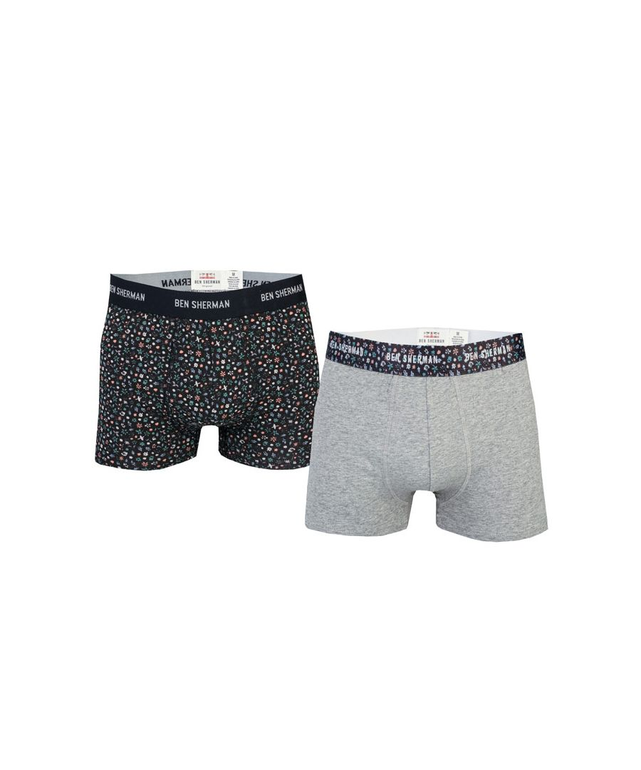 Image for Men's Ben Sherman 2 Pack Christian Boxer Shorts in Grey