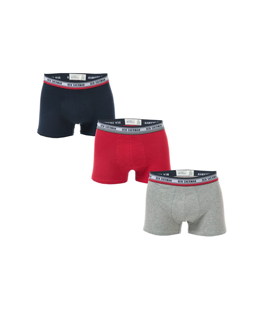 Image for Men's Ben Sherman Cosmo 3 Pack Boxer Shorts in Navy Grey
