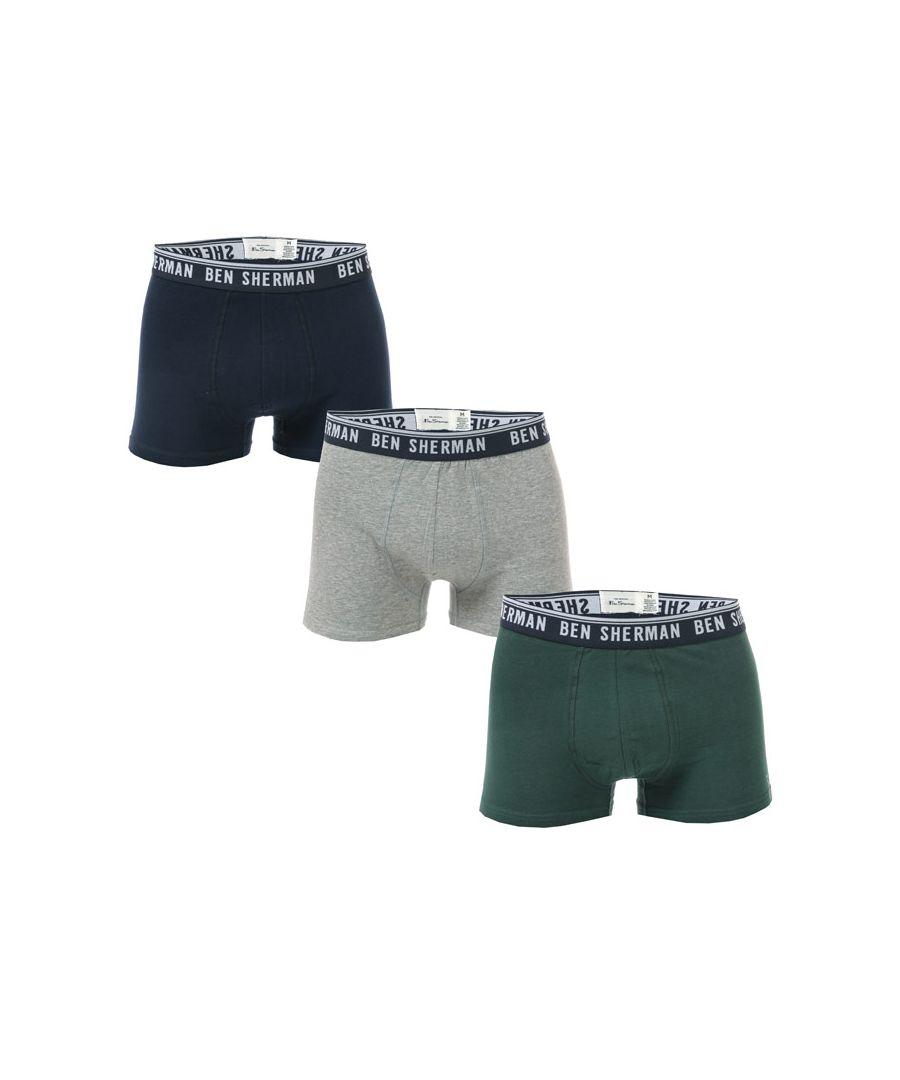 Image for Men's Ben Sherman Cullen 3 Pack Boxer Shorts in Navy Grey