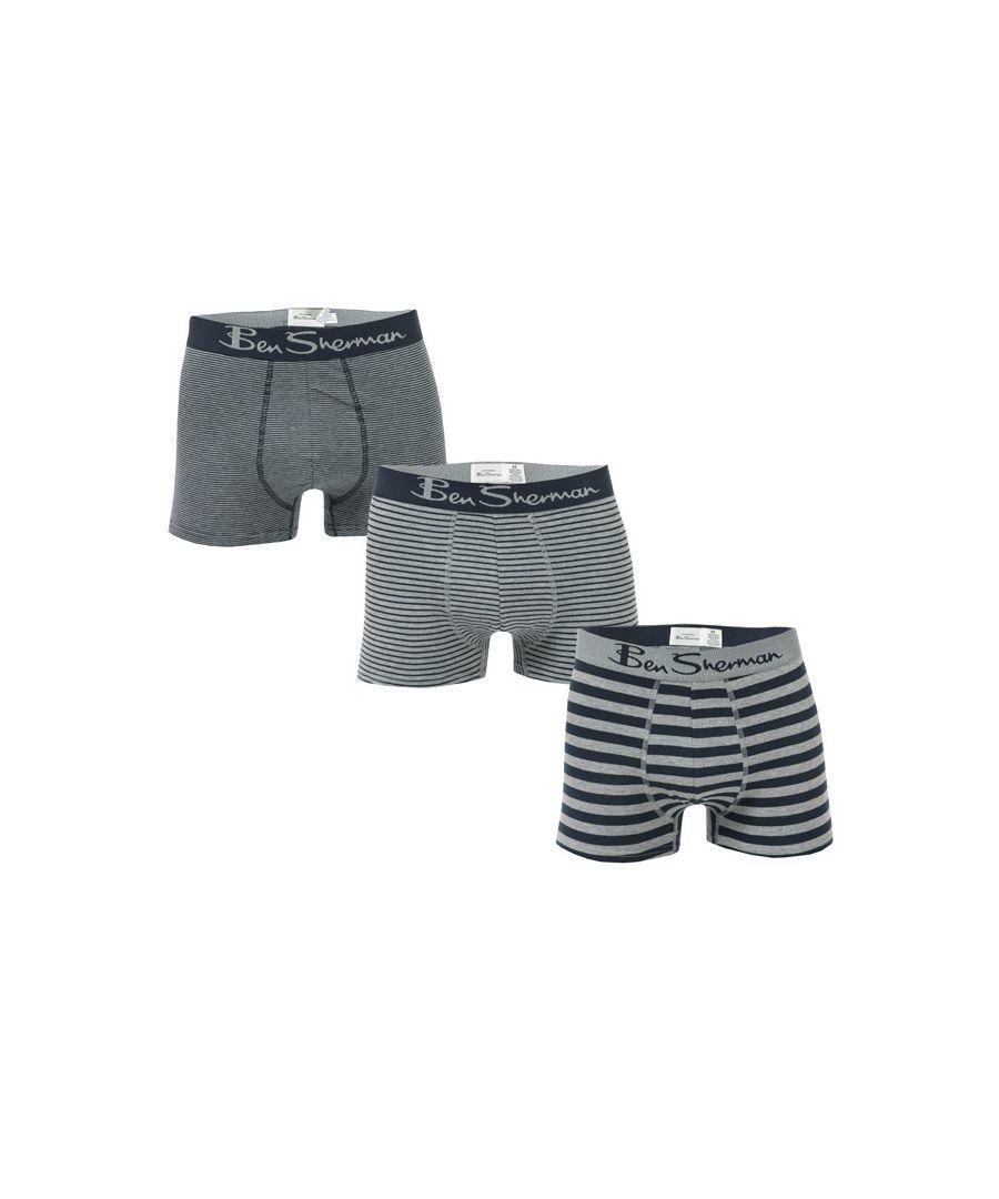 Image for Men's Ben Sherman Goddard 3 Pack Boxer Shorts in Navy Grey