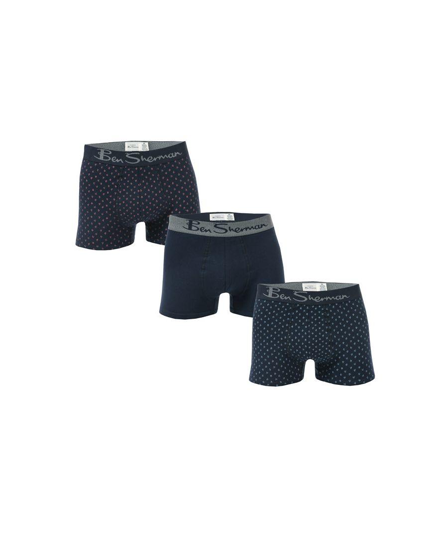 Image for Men's Ben Sherman Langworth 3 Pack Boxer Shorts in Navy