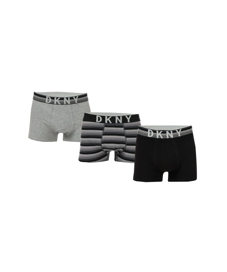 Image for Men's DKNY Dallas 3 Pack Boxer Shorts in Black Grey