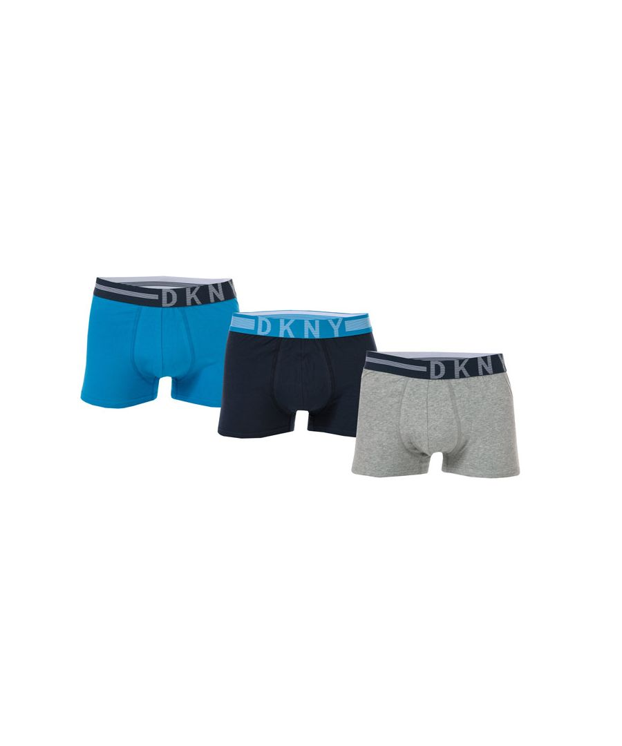 Image for Men's DKNY Oregon 3 Pack Boxer Shorts in Navy Grey