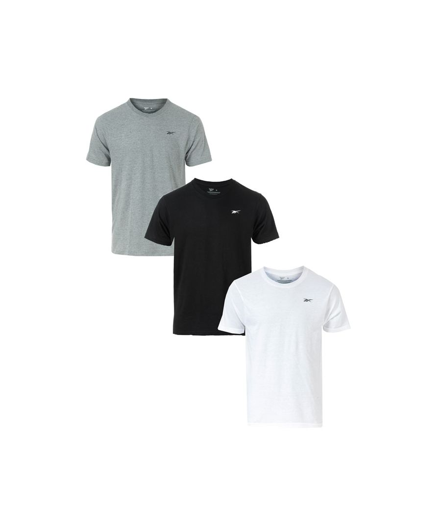 Image for Men's Reebok Cotton Rich Performance 3 Pack T-Shirts in Black Grey White