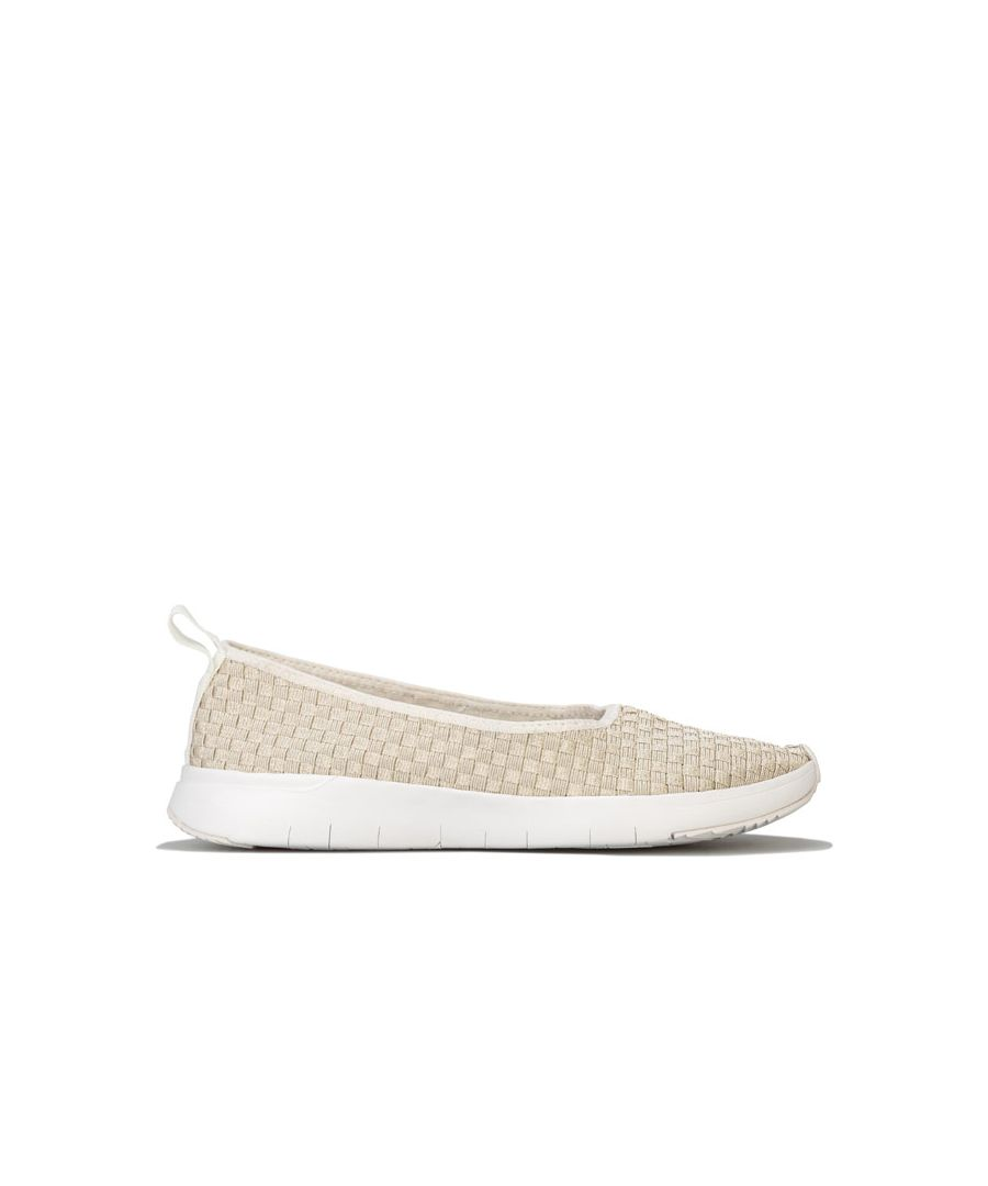 Image for Women's Fit Flop Stripknit Ballerina Shoes in White