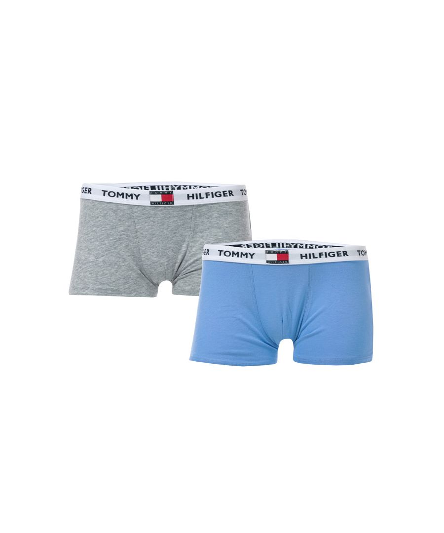 Image for Boy's Tommy Hilfiger Junior 2 Pack Trunks in Grey blue