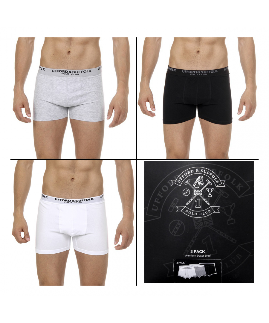 Image for Ufford & Suffolk Polo Club Mens Three pack boxer trunk US100