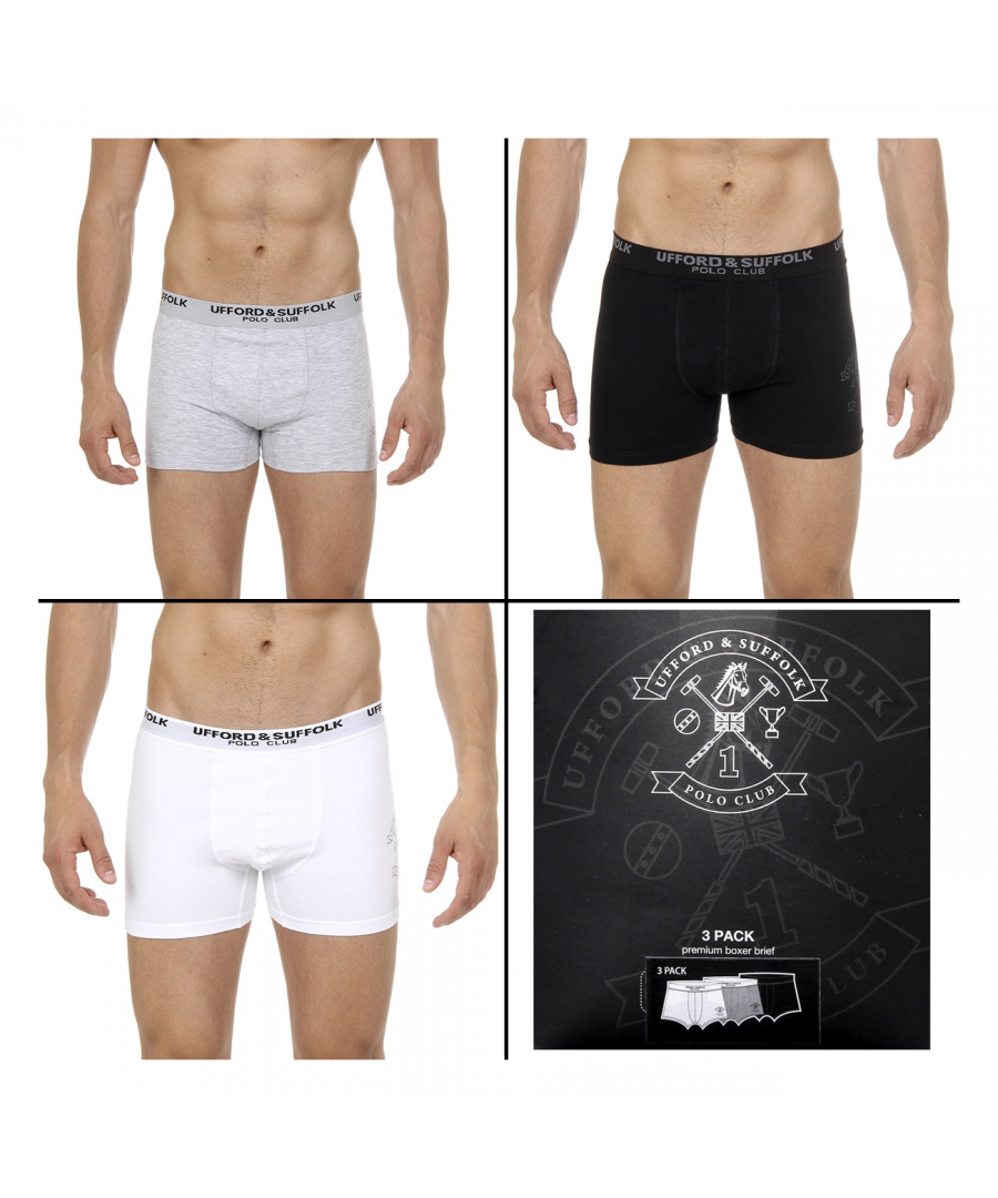 Image for Ufford & Suffolk Polo Club Mens Three pack boxer trunk US200