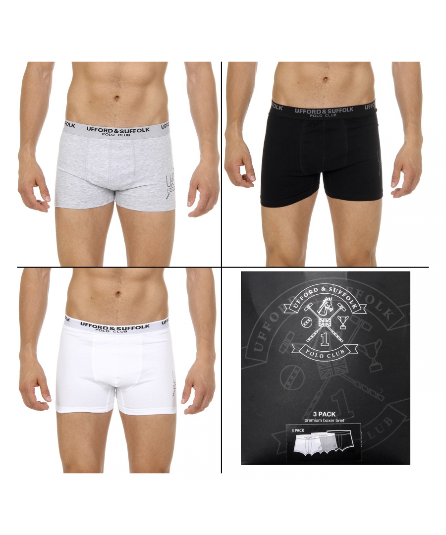 Image for Ufford & Suffolk Polo Club Mens Three pack boxer trunk US300