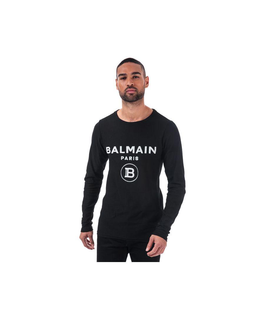 Image for Men's Balmain Flock Logo Long Sleeve T-Shirt in Black