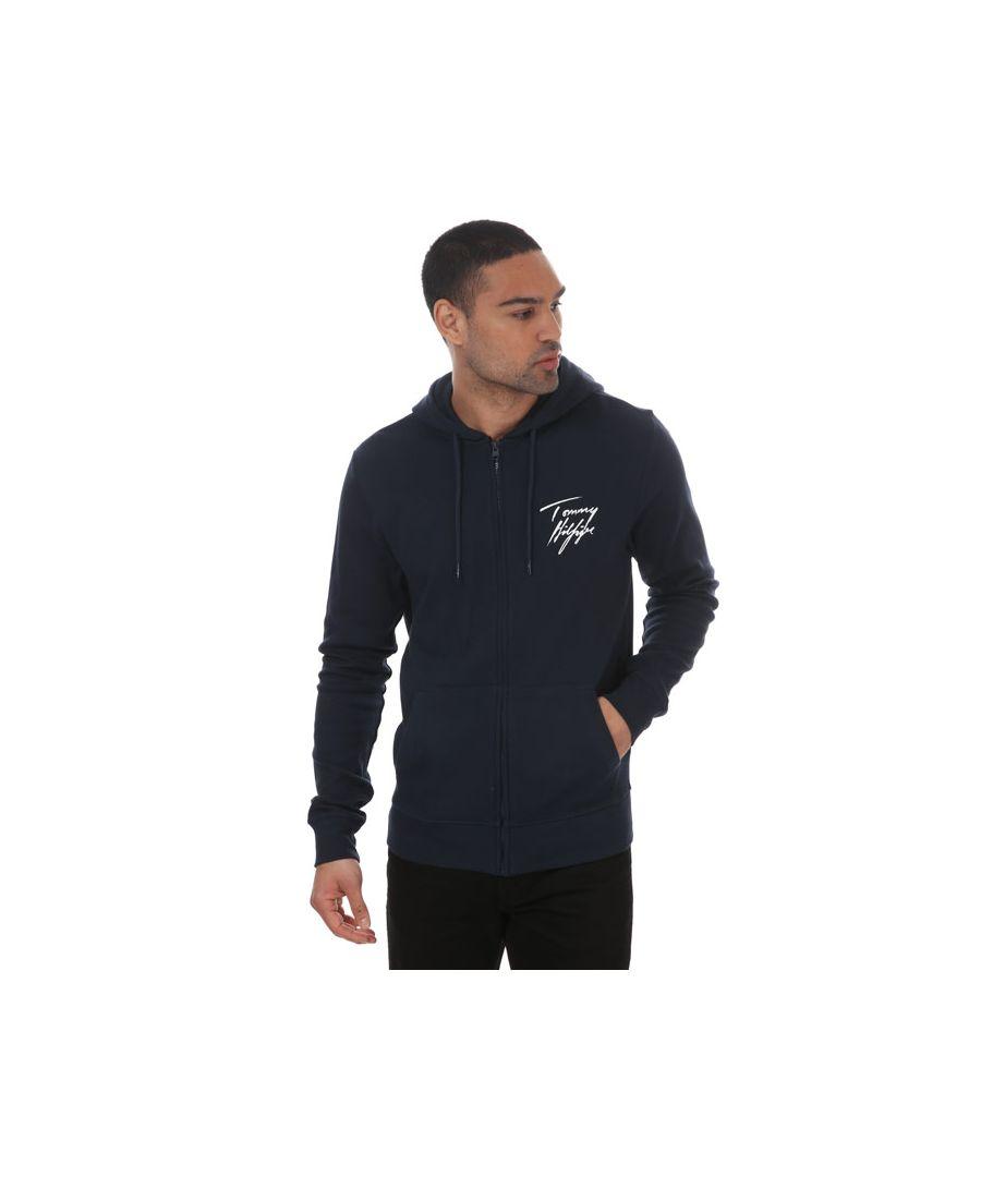 Image for Men's Tommy Hilfiger Logo Zip Hoody Navy Sin Navy