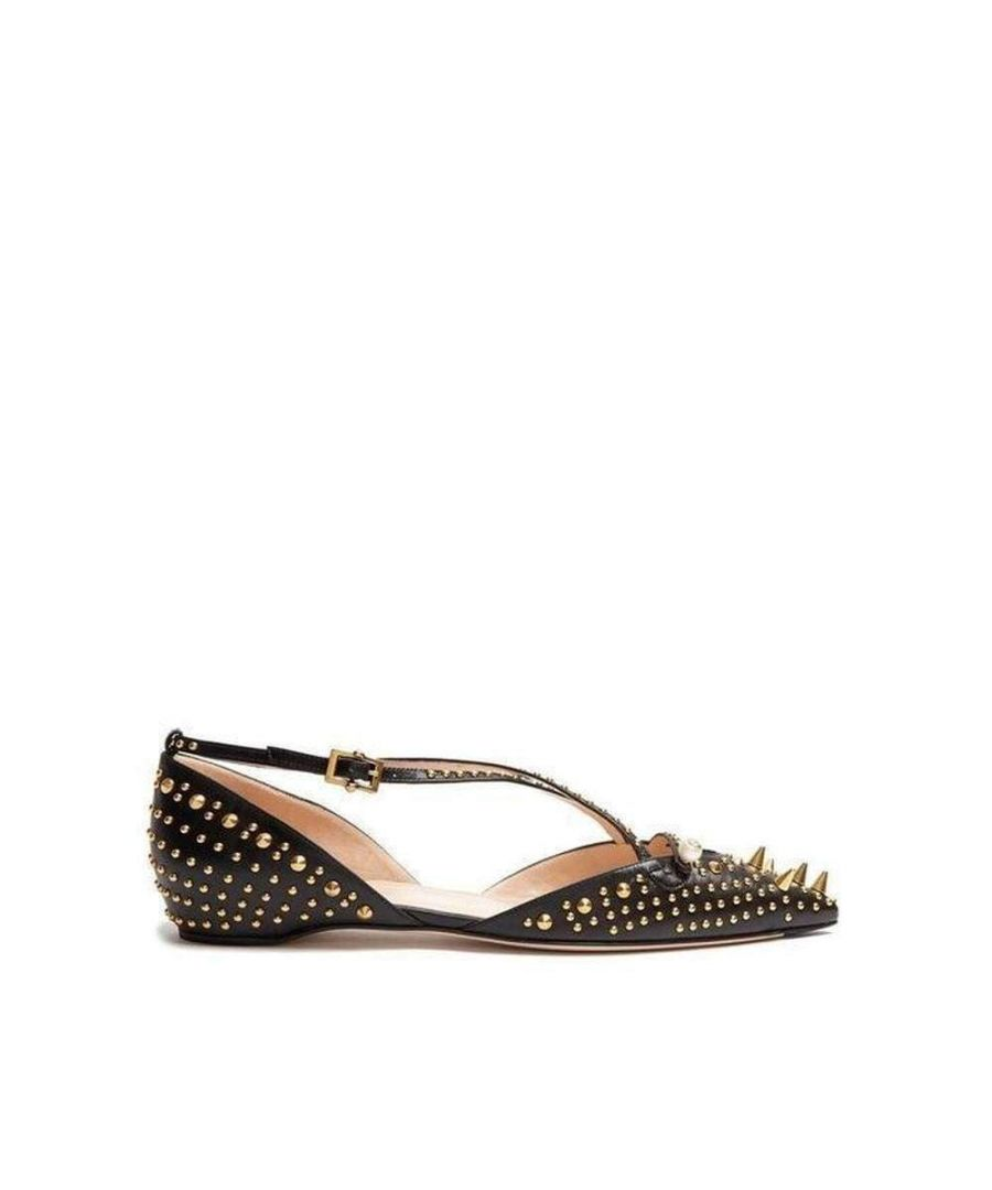 Image for Gucci Unia Studded Black Leather Flats