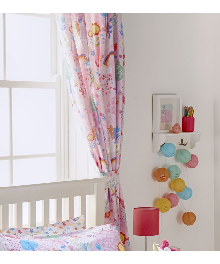 Image for Unicorn Pencil Pleat Curtains Pink