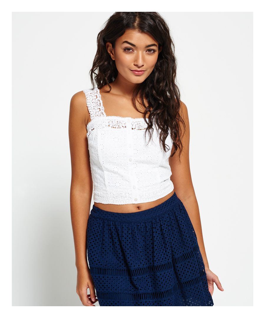 Image for Superdry Lacy Mix Crop Top