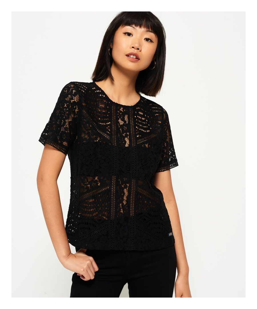 Image for Superdry Orchid Lace Panelled Top