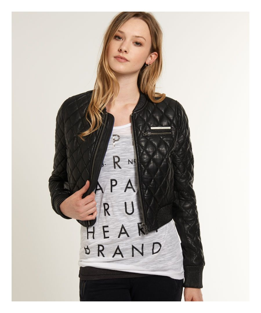 Image for Superdry Saint Quilted Leather Bomber Jacket