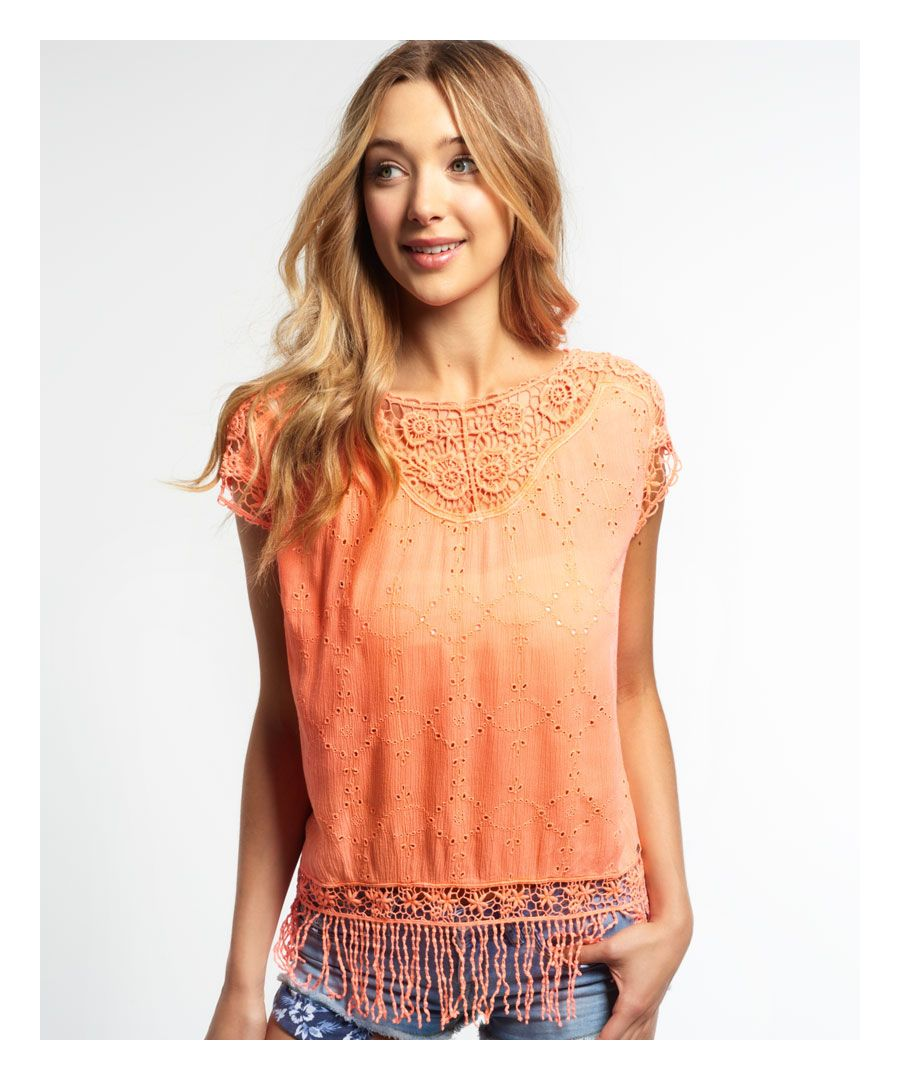 Image for Superdry Lacy Schiffli Cape Top