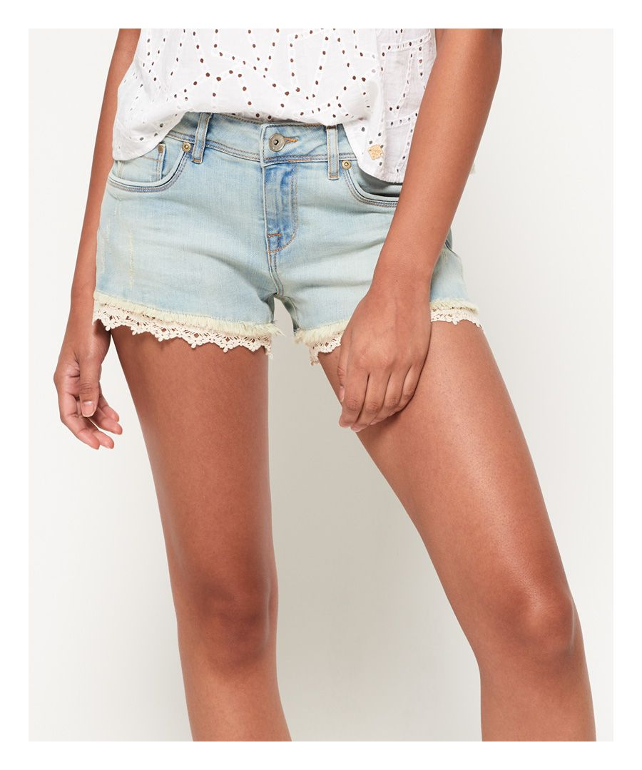 Image for Superdry Lace Trim Denim Hot Shorts