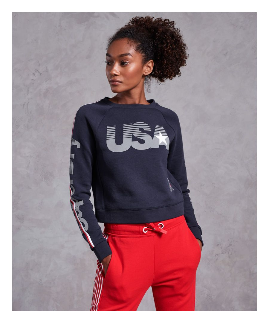Image for Superdry Gym Tech USA Crop Crew Sweatshirt