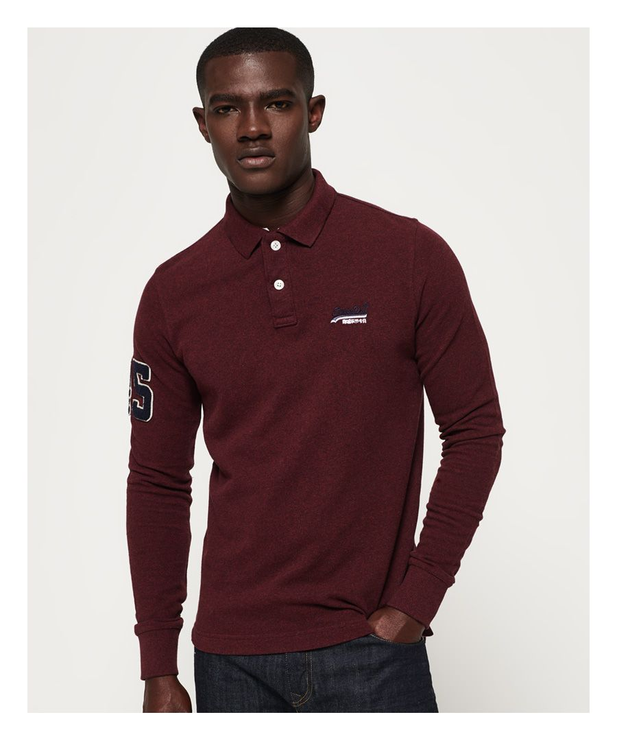 Image for Superdry Classic Pique Long Sleeve Polo Shirt