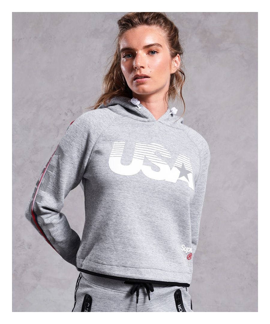 Image for Superdry Gym Tech USA Crop Hoodie