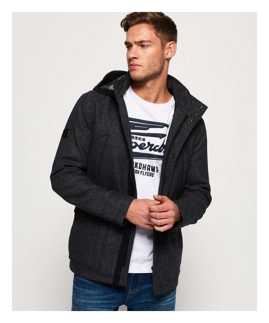 Image for Superdry Gyton Hooded Wool Coat