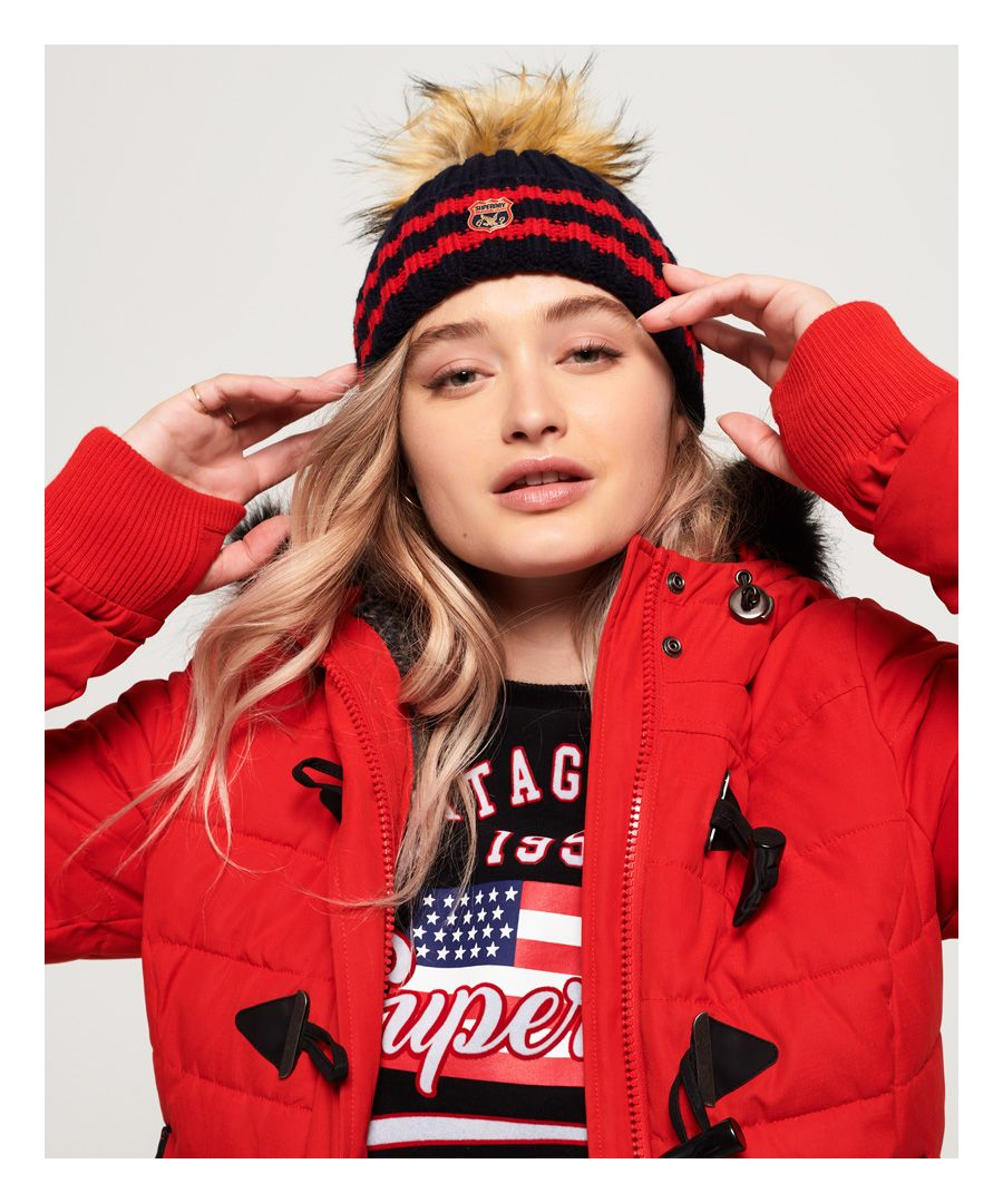Image for Superdry Aimee Stripe Ribbed Beanie