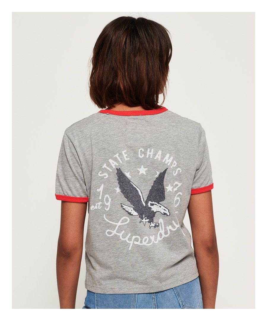 Image for Superdry Eagle Champs Embroidery Ringer Boxy T-Shirt