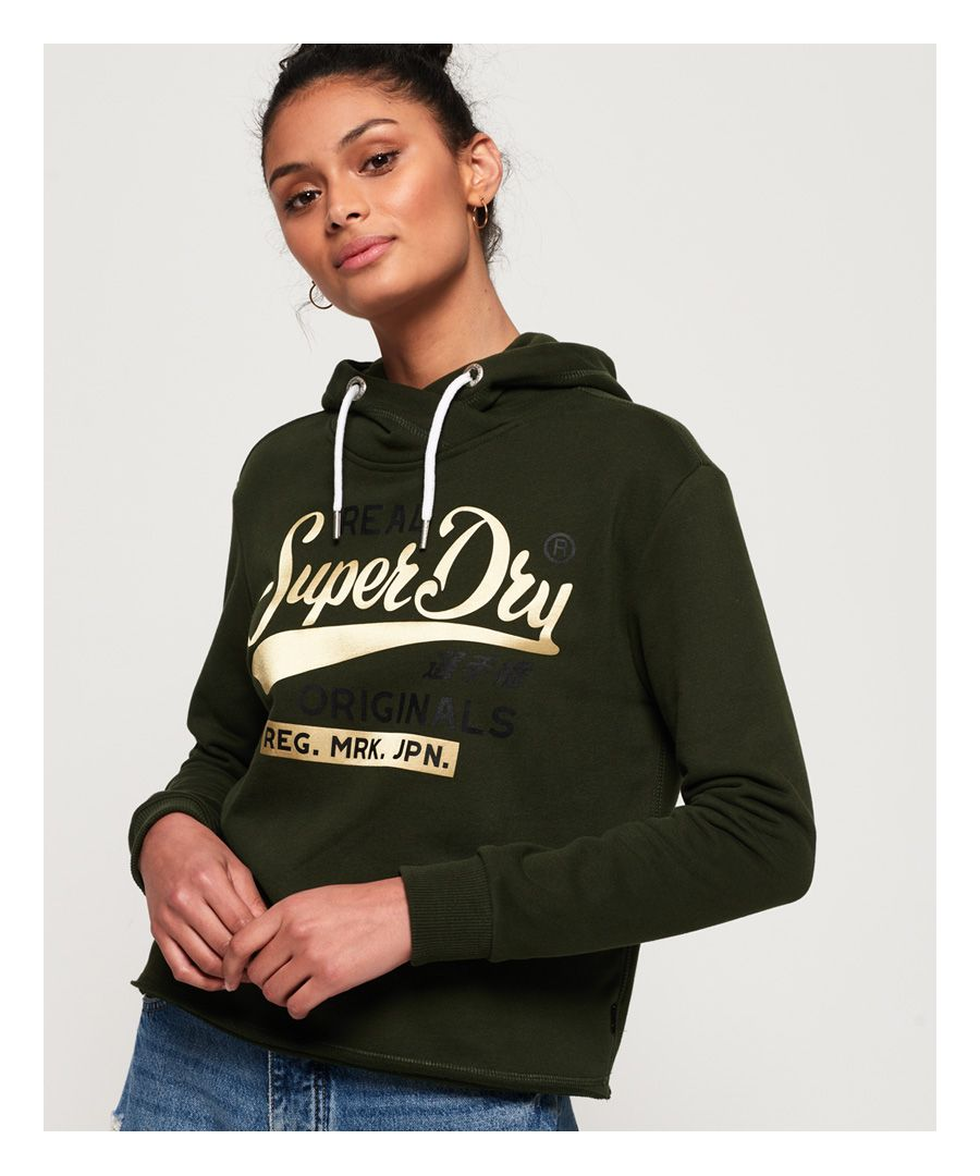 Image for Superdry Real Originals Satin College Crop Hoodie