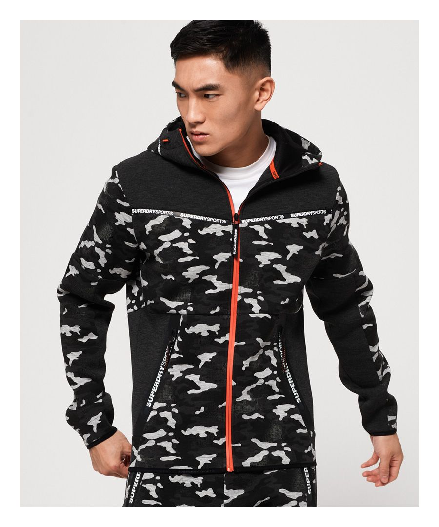 Image for Superdry Gym Tech Stretch Camo Zip Hoodie