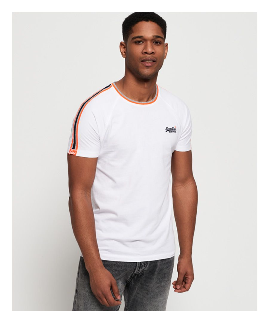 Image for Superdry Orange Label Tipped Sports Stripe T-Shirt
