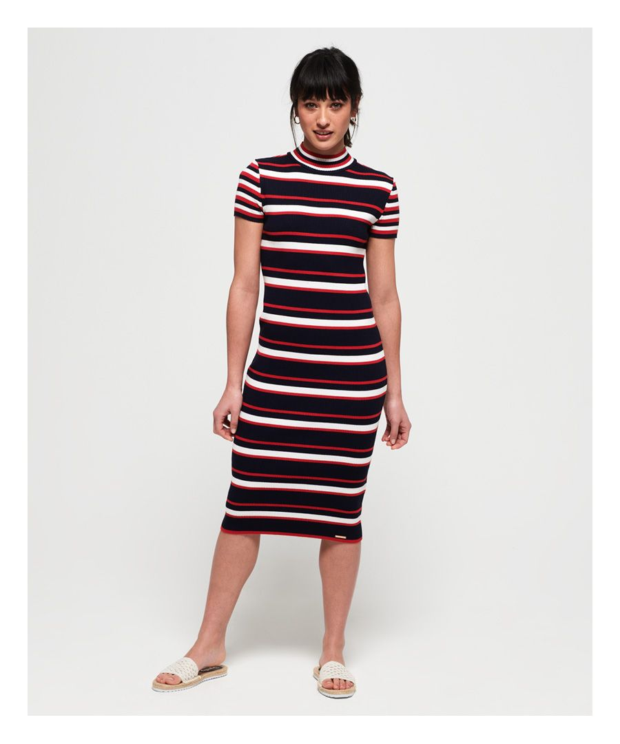 Image for Superdry Sporty Striped Ribbed Knitted Dress