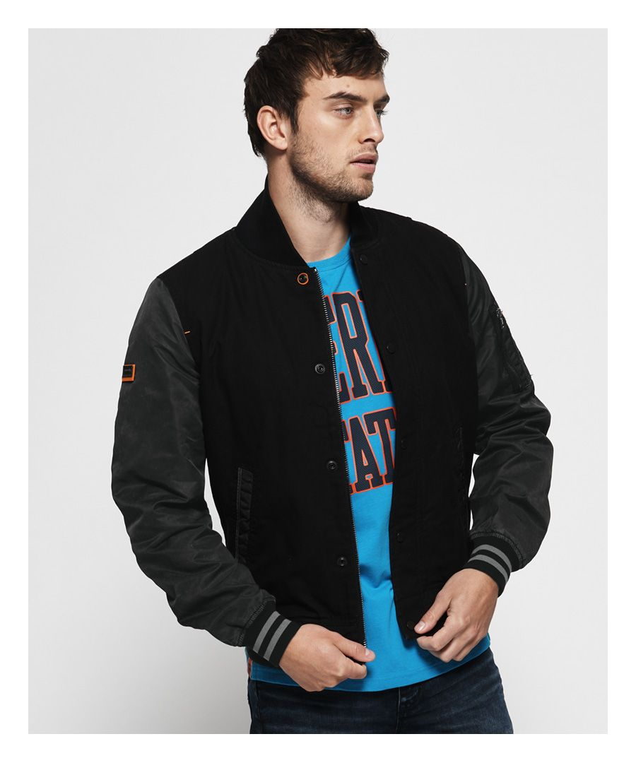 Image for Superdry Pigment Denim Mix Bomber Jacket