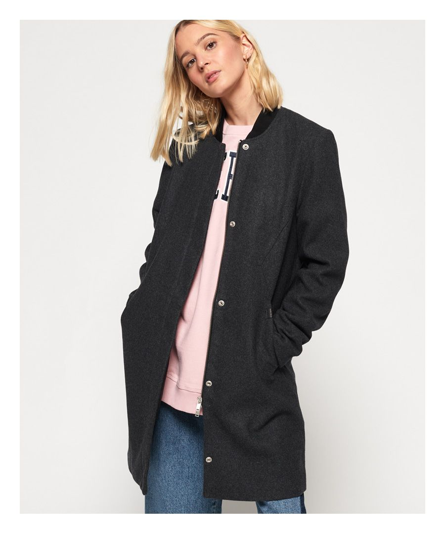 Image for Superdry Longline Wool Bomber Jacket