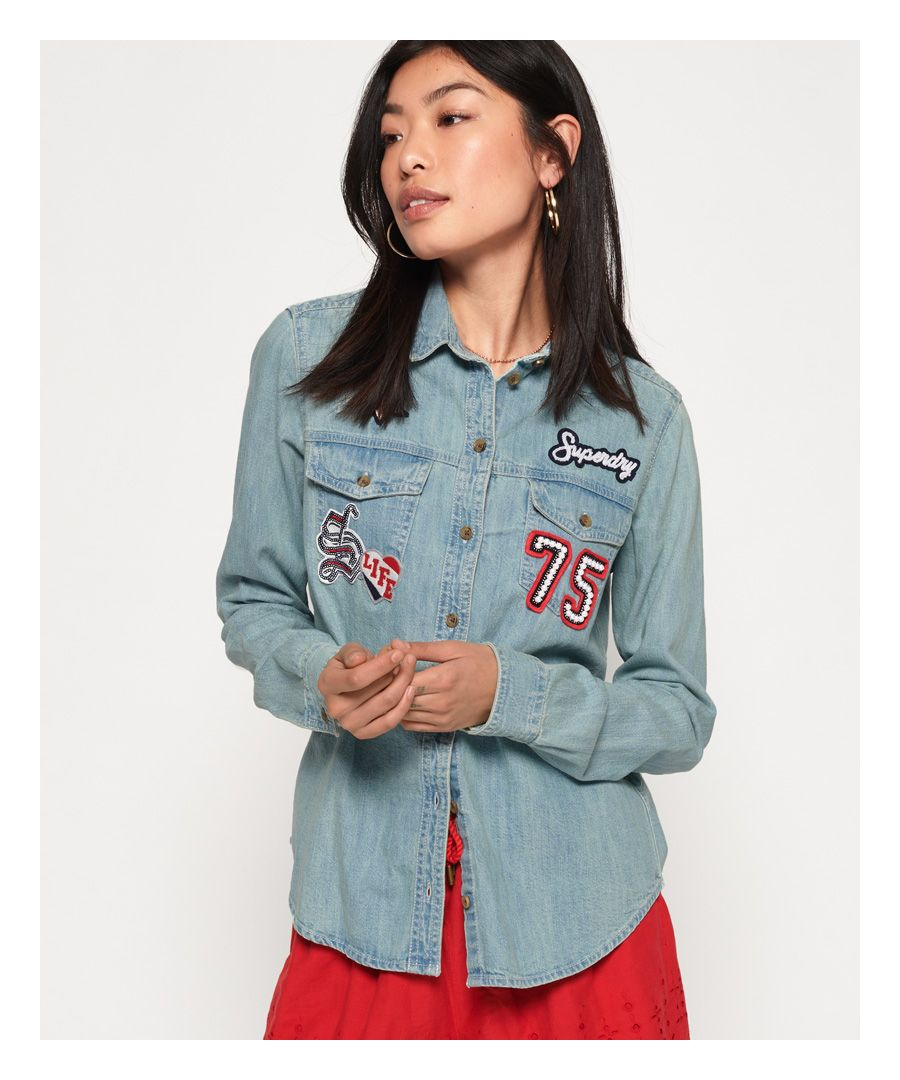 Image for Superdry Oversized Badged Denim Shirt