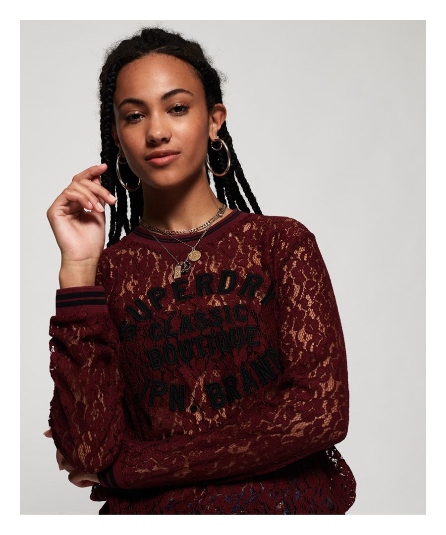 Image for Superdry Lace Tipped Applique Top