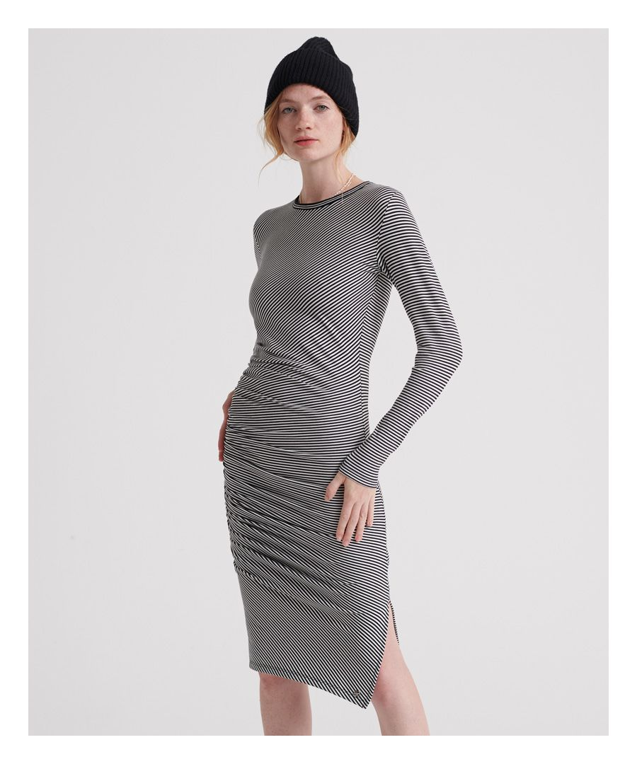 Image for Superdry Rouched Midi Long Sleeved Dress