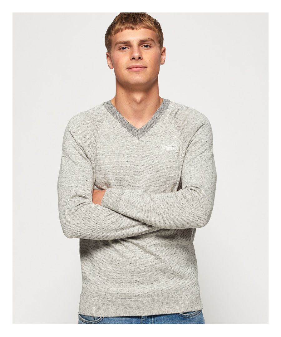 Image for Superdry Orange Label Cotton Vee Neck Jumper