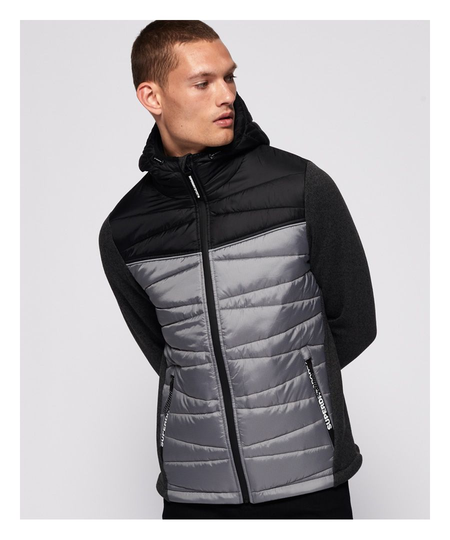 Image for Superdry Storm Diagonal Quilted Hybrid Hoodie