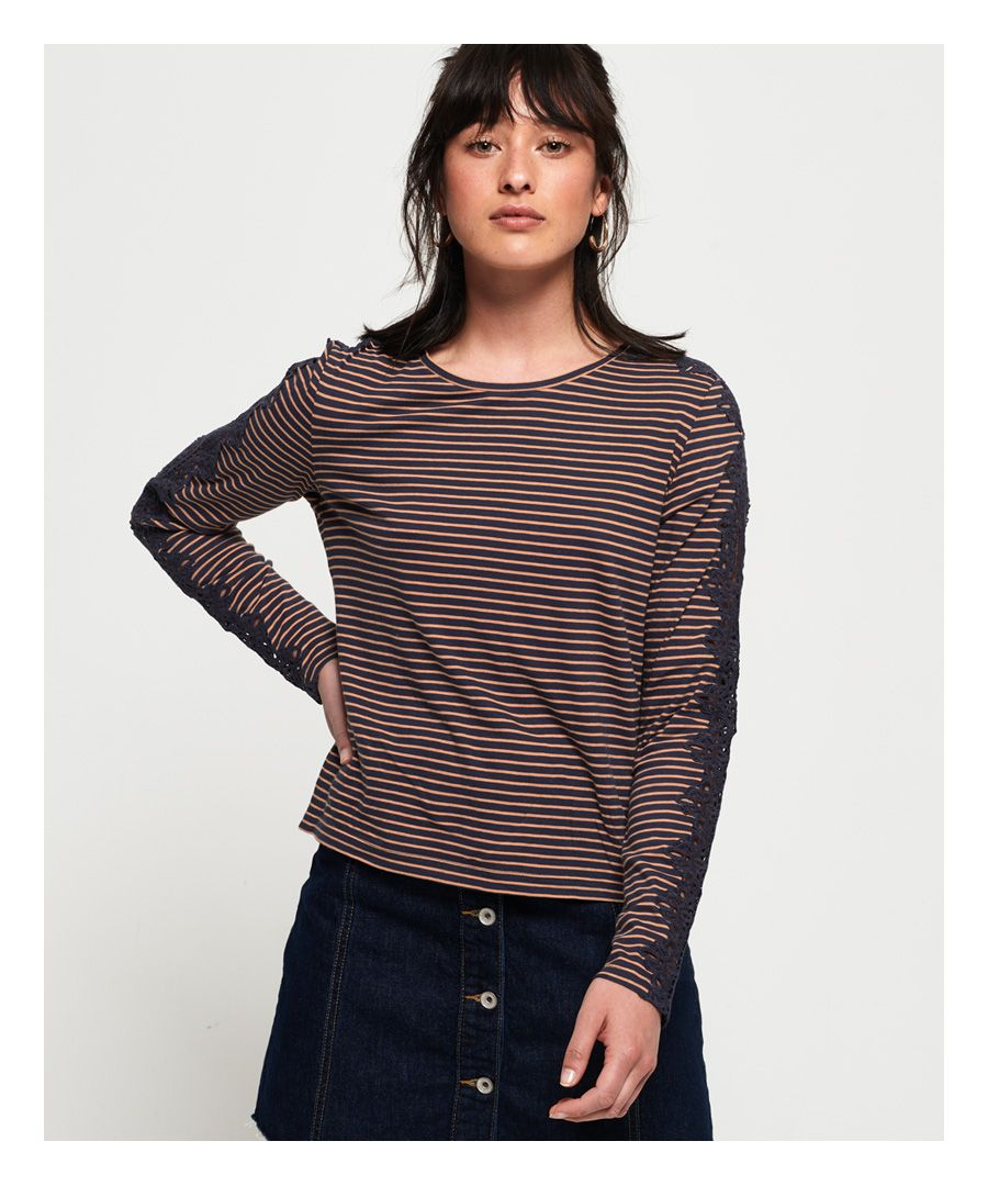 Image for Superdry Lace Trim Long Sleeve Top