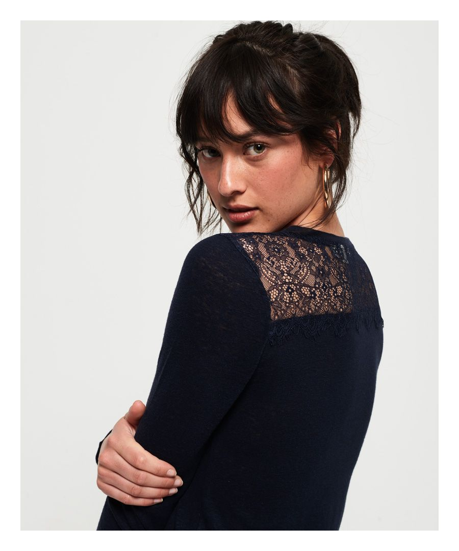 Image for Superdry Lace Back Graphic Top