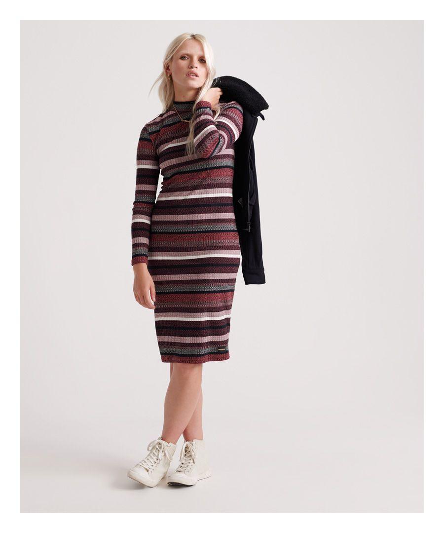 Image for Superdry Stripe Rib Midi Dress