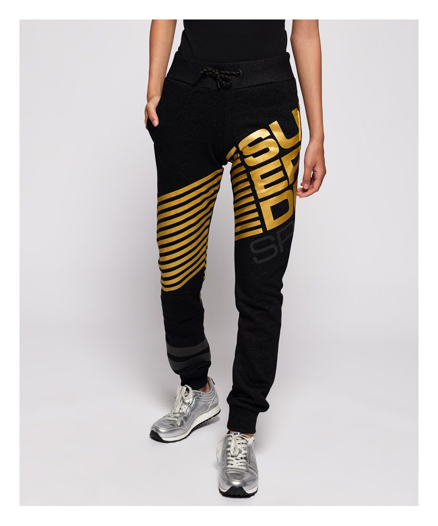Image for Superdry Diagonal Black Gold Joggers