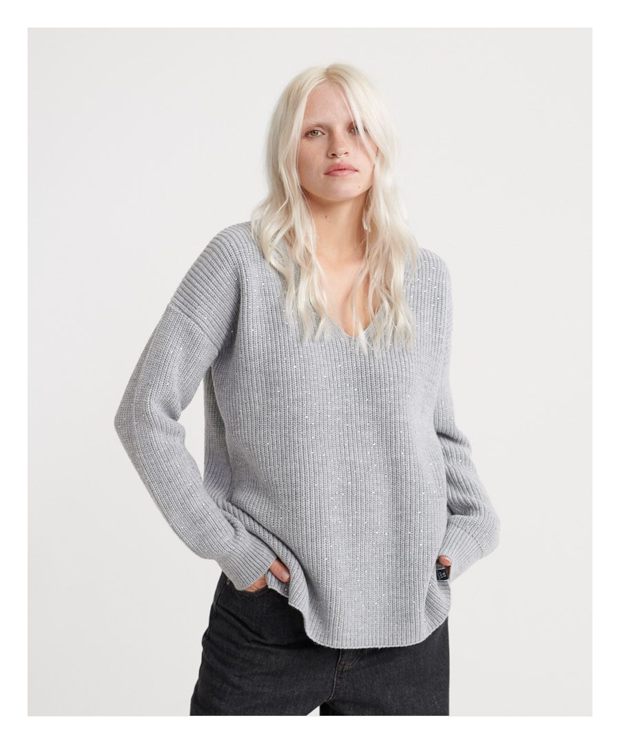 Image for Superdry Erin Embellished V-Neck Knitted Jumper