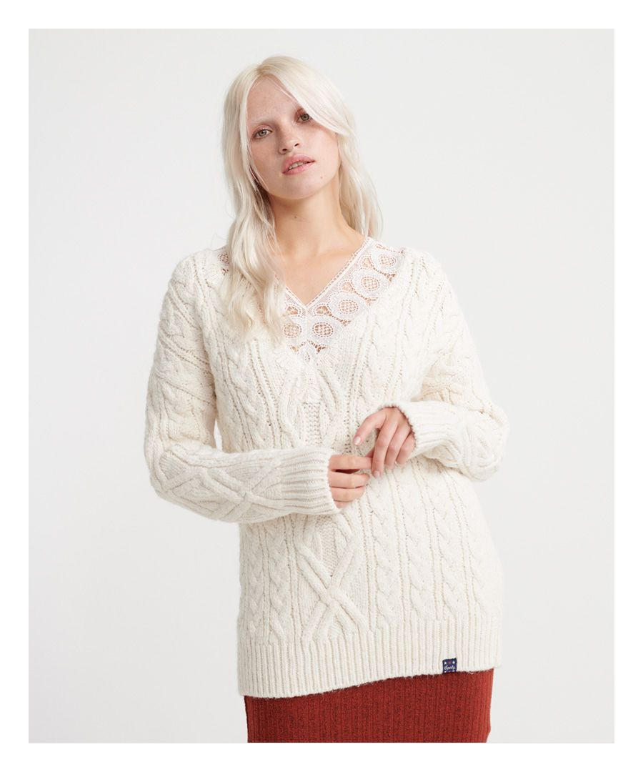 Image for Superdry Lannah Lace Vee Cable Knit