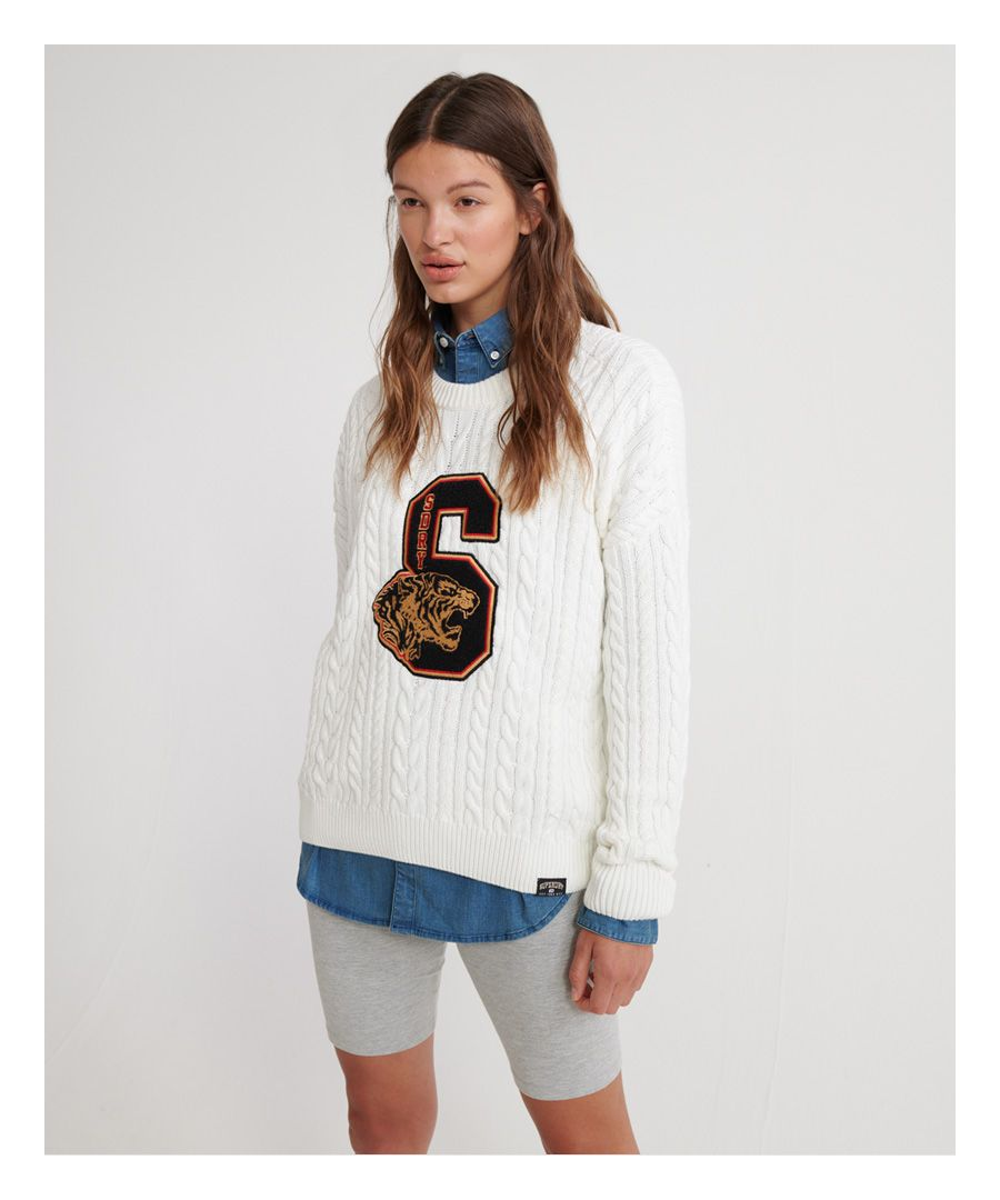 Image for Superdry Preppy Applique Cable Knit Jumper