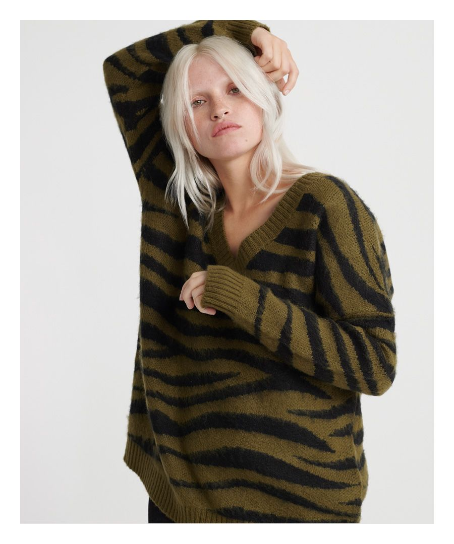 Image for Superdry Edit Zadie Zebra V-Neck Knit Jumper