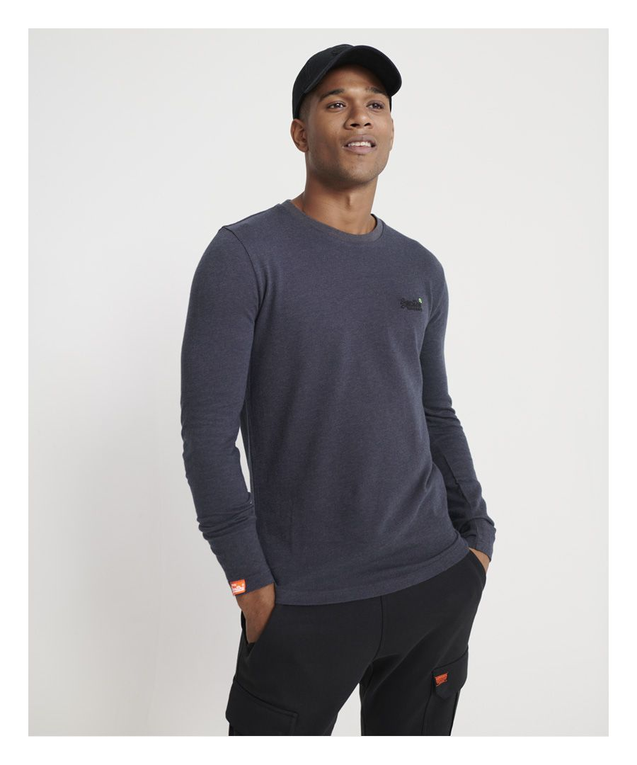 Image for Superdry Orange Label Twill Texture Long Sleeve Top