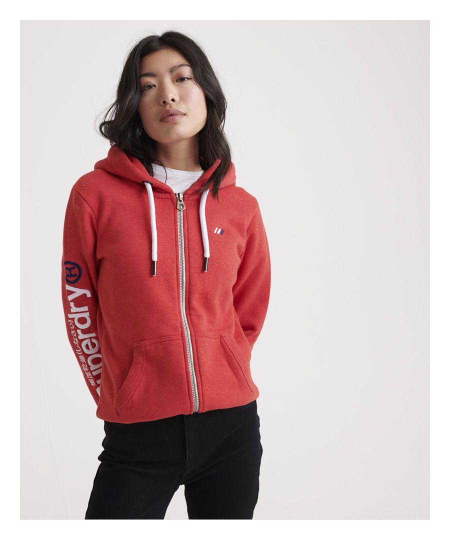 Image for Superdry Modern Coral Label Sleeve Hit Zip Hoodie