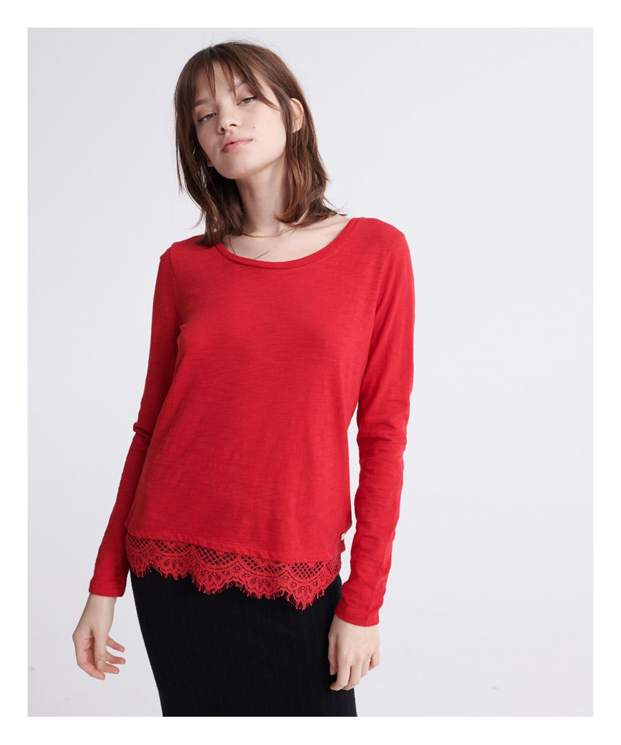 Image for Superdry Ashby Long Sleeve Lace Hem Top
